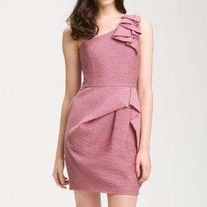 Bcbg maxazria Audrey one shoulder dusty rose dress